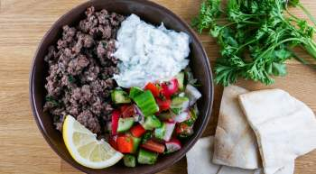 Vegetarian Kofta Kabob Bowls with Garlic Tzatziki