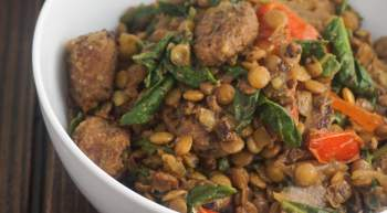 Sausage, Spinach, and Tomato Lentils