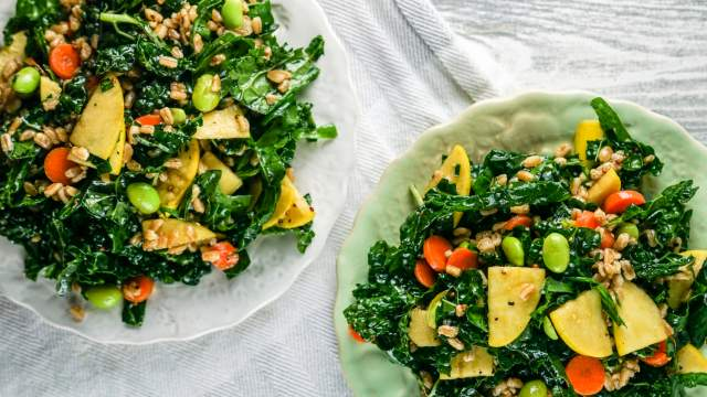 Asian Kale Salad with Farro, Apples, and Edamame