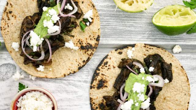 Portobello and Poblano Tacos with Avocado Herb Salsa