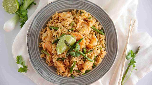 Shrimp Fried Rice with Asparagus
