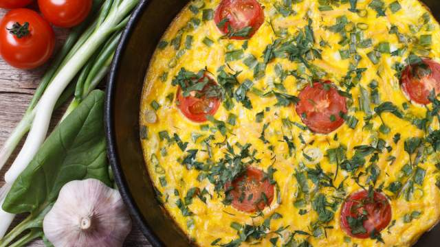 Fresh Herb, Tomato, and Goat Cheese Fritatta