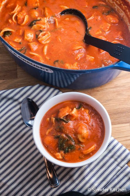 Creamy Tomato, Chicken, and Spinach Soup