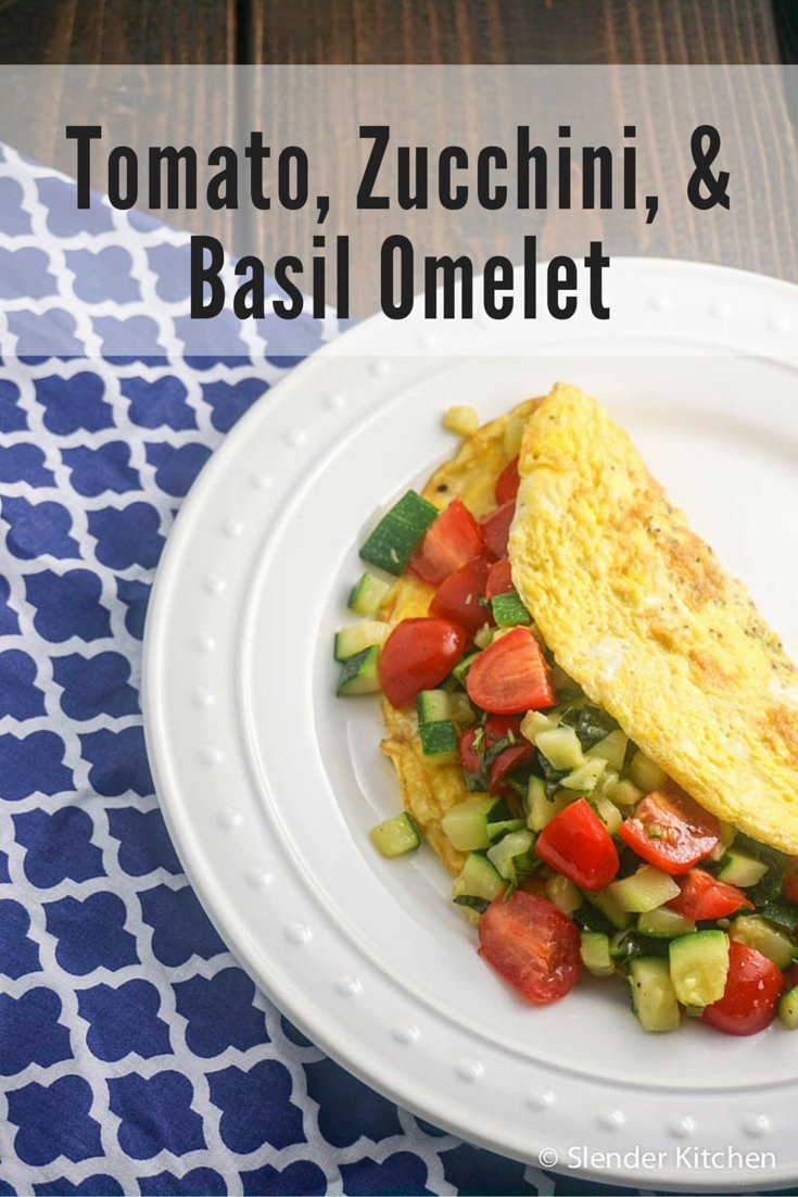 Zucchini, Tomato, and Basil Omelet