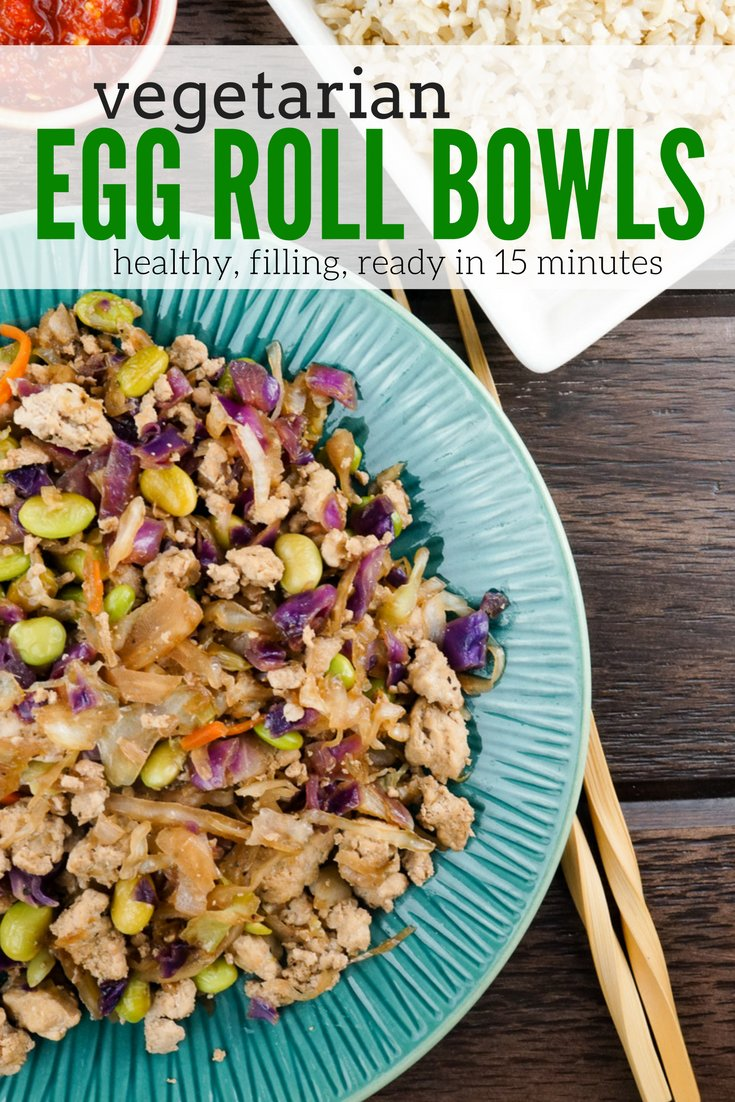 Vegetarian Egg Roll Bowls are a healthier, meatless version of your favorite egg rolls that are ready in about fifteen minutes.